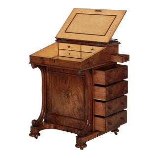19th Century William IV Walnut & Leather Davenport Antique Desk For Sale