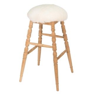 Sarreid LTD Winoma Wood & Goatskin Bar Stool For Sale