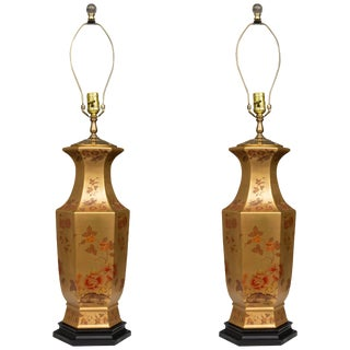 Floral Design Gilt Table Lamps - a Pair For Sale