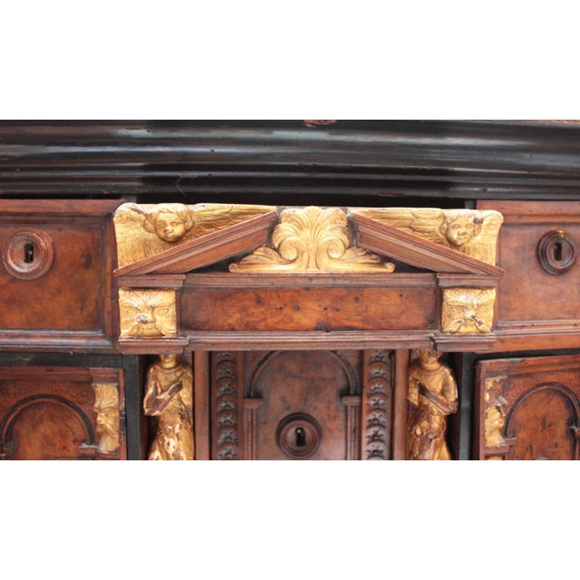 Early 18th Century Bambocci Cabinet of Walnut and Ebony with Giltwood Figures For Sale - Image 5 of 7