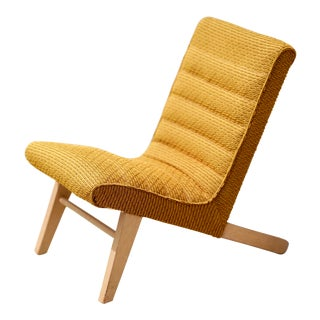 Mid Century Upholstered Scandinavian Lounge Chair For Sale