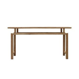 Oriental Zen Unfinished Wood Slim Open Side Table For Sale