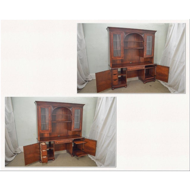 Traditional Ethan Allen British Classics Office Desk Credenza W/ Hutch Top For Sale - Image 3 of 13