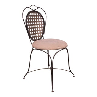 Quality Wrought Iron Lattice Back Side Chair For Sale