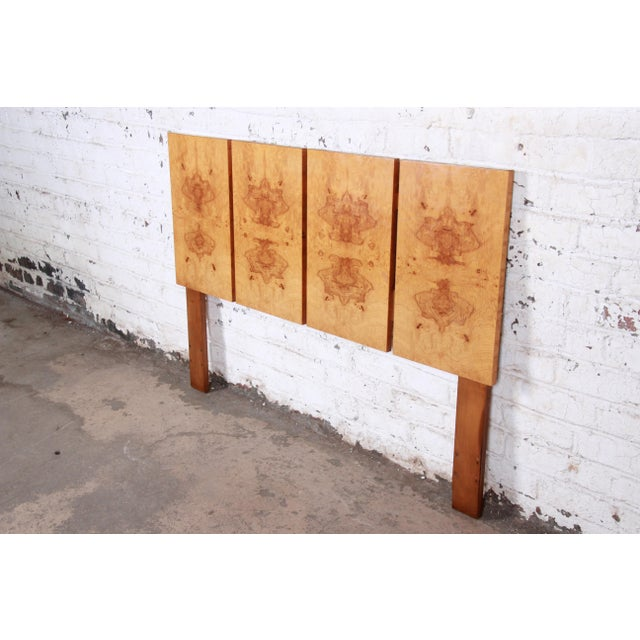 Danish Modern Milo Baughman Style Mid-Century Modern Burl Wood Queen Size Headboard For Sale - Image 3 of 6