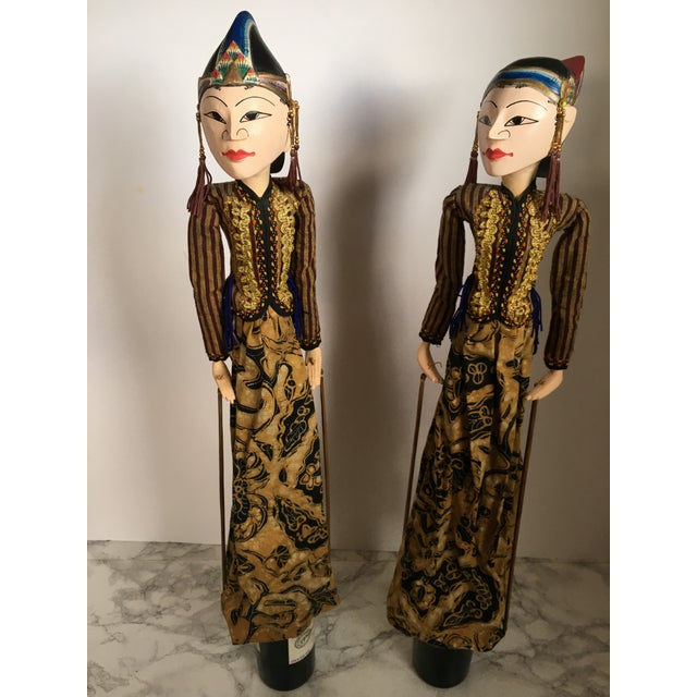Wood Indonesian Rod Puppets - a Pair For Sale - Image 7 of 7