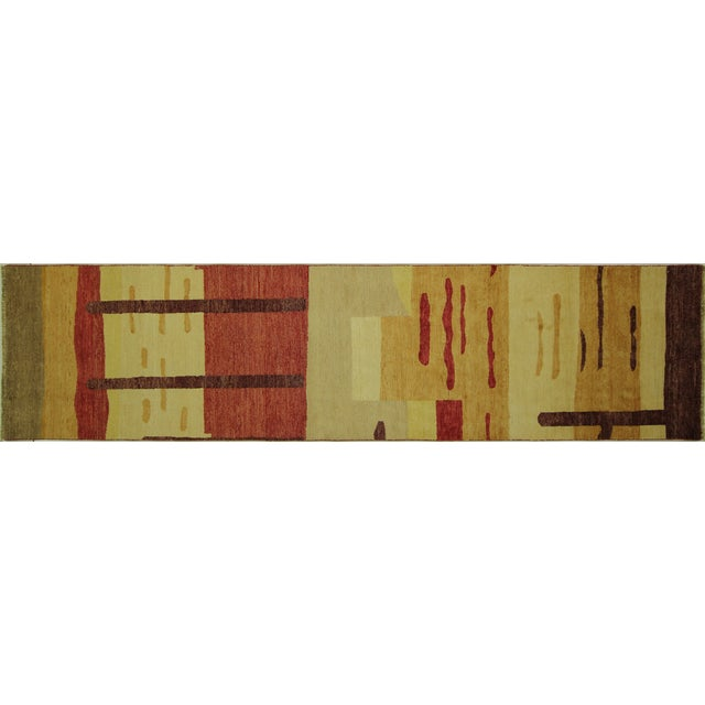 "Abstract Modern Runner Gabbeh Rug - 2'6"" x 10'1"" - Image 1 of 9"