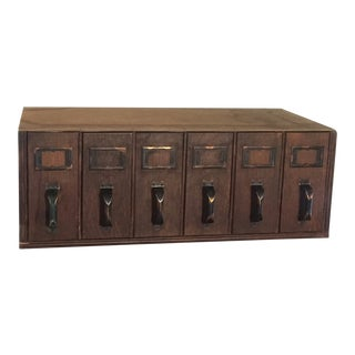 1940s Vintage Industrial 6- Drawer Library Card Catalog File Cabinet For Sale