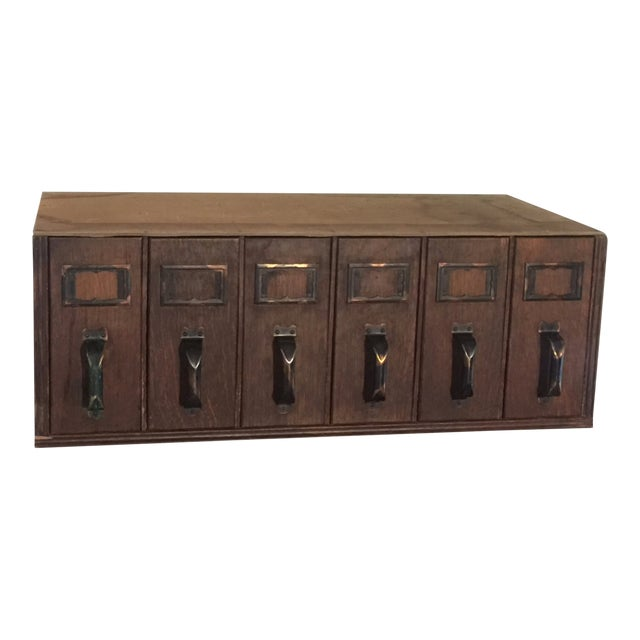 1940s Vintage Industrial 6 Drawer Library Card Catalog File Cabinet