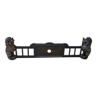 Antique English Oak Early 19th Century Gothic Fireplace Fender Hearth Surround Lions For Sale