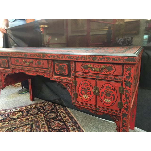 Antique Chinese Red Lacquer Desk For In Orlando Image 6 Of 9