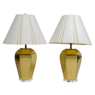 Brass & Lucite Lamps - a Pair For Sale