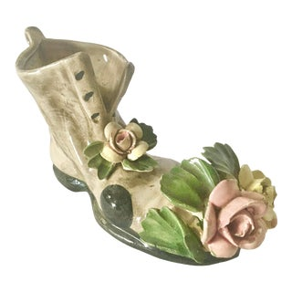 Vintage Small Capodimonte Shoe With Flowers For Sale
