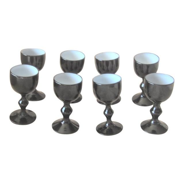 Carlo Moretti Mid Century Black Murano Opaline Milk Glass Cordials - Set of 7 For Sale
