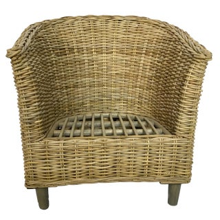 Boho Chic Wicker Accent Arm Chair