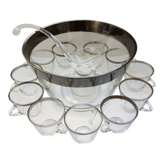 Mid-Century Modern Dorothy Thorpe Punch Bowl With 12 Handled Cups & Glass Ladle - Set of 14 For Sale