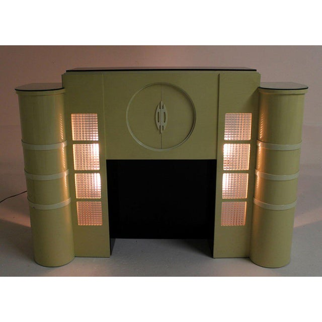 White Lacquer Mid-Century Modern Style Faux Fireplace Mantel Dry Bar For Sale - Image 9 of 9
