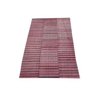 Late 20th Century Turkish Modern Handmade Striped Flatweave Textile Rug - 5′11″ × 9′10″ For Sale