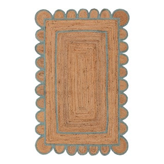 Scallop Jute Turquoise Blue Hand Made Rug - 4'x6' For Sale