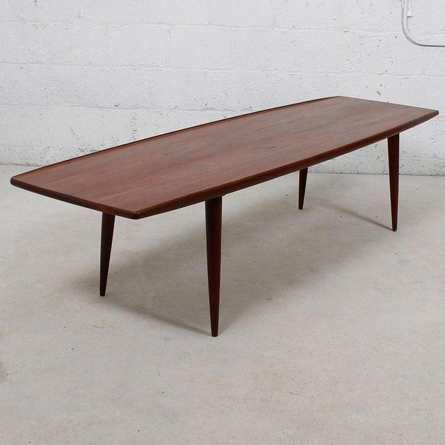 Long Danish Modern Teak Surfboard Coffee Table - Image 3 of 7
