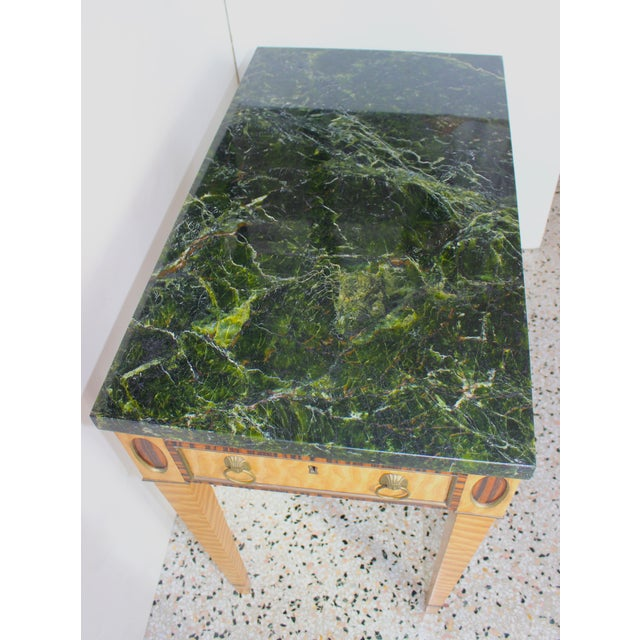 Metal Antique Mid-19 Century American Side Table in Ribbon Satinwood and Marble For Sale - Image 7 of 13