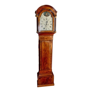 Late 18th Century English George III Mahogany Long Case Grandfather Clock For Sale