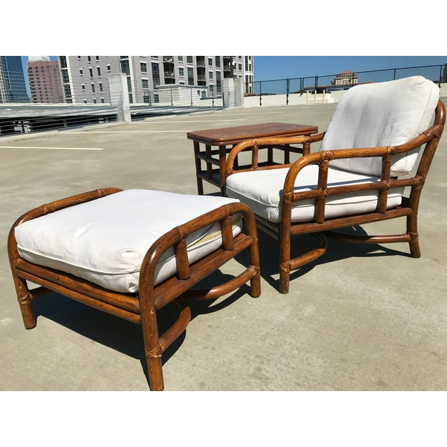 Ficks Reed Lounge Chair with Ottoman & Table - Image 2 of 10
