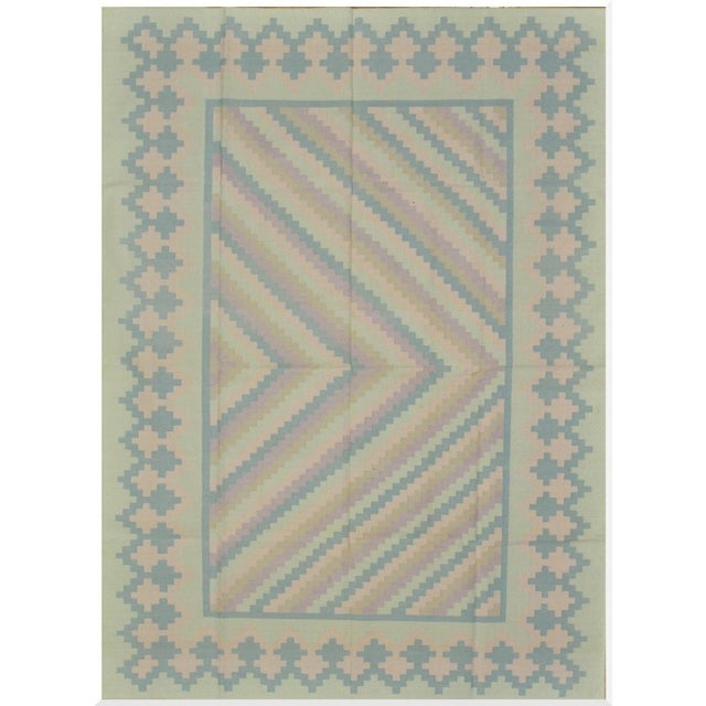 Handmade Indian Cotton Dhurry Rug - 6' x 9' For Sale