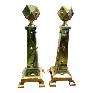1920s Geometric Brass Andirons - a Pair For Sale