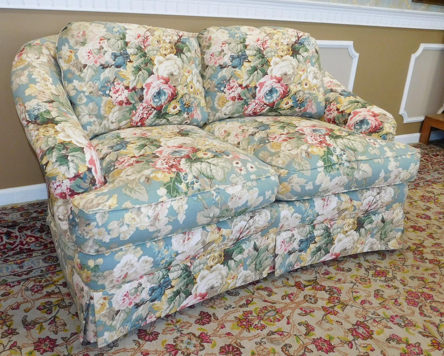 1980s contemporary overstuffed upholstered floral sherrill furniture rh chairish com Overstuffed Loveseat Sleeper Cottage Style Overstuffed Sofa