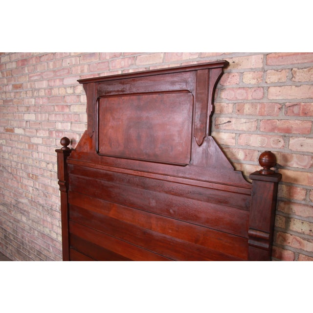 Victorian 19th Century Eastlake Victorian Burled Walnut Full Size Bed For Sale - Image 3 of 6