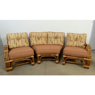 1950s Vintage Calif Asia Bamboo and Rattan Modular Sofa Preview