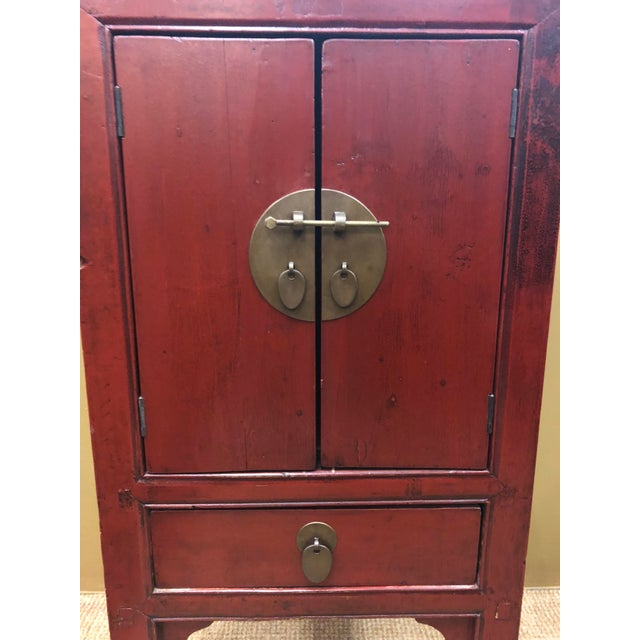 Antique Chinese Red Lacquer Cabinets - a Pair For Sale In Los Angeles - Image 6 of 8
