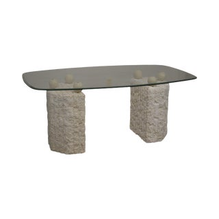 Postmodern Tessellated Marble Double Pedestal Glass Top Dining Table For Sale