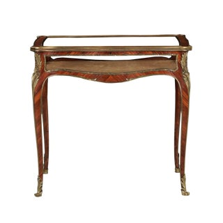 19th Century French Antique Bronze Side Table w/ Vitrine Display Case