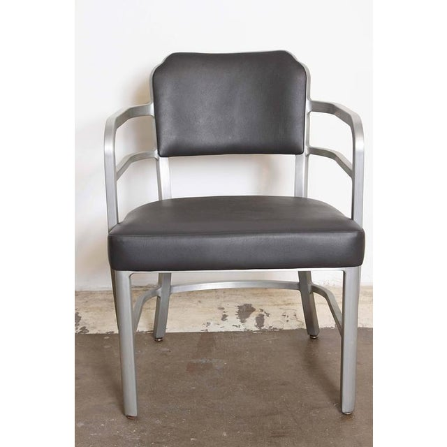 Pair of Machine Age Art Deco Leather GoodForm Armchairs Brushed Aluminum For Sale In Dallas - Image 6 of 11