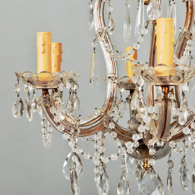 Maria Theresa chandelier with brass frame, six glass covered arms, candle style lights with scallop edge glass bobeches,...
