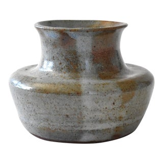1960s Gray Mid-Century Art Pottery Vase For Sale