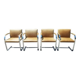 Authentic Knoll Leather Upholstered Steel Brno Chairs- Set of 4 For Sale