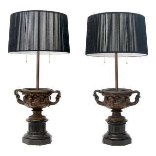 Pair of Grand Tour Bronze Table Lamps For Sale