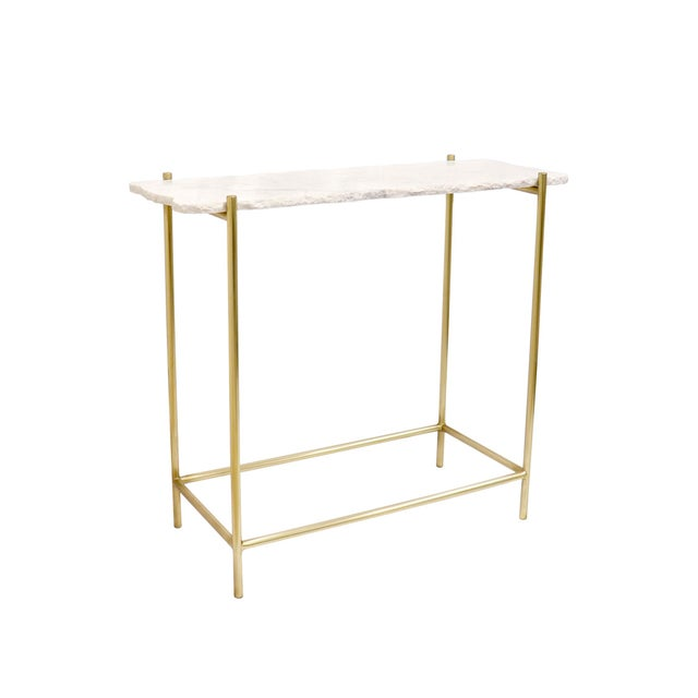 White Pasargad Home Vasto Marble & Stainless Steel Console For Sale - Image 8 of 8