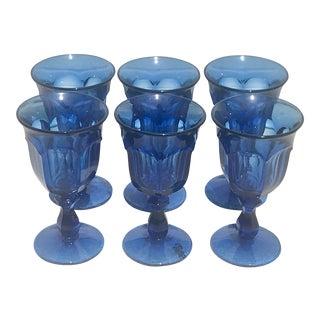Vintage Steel Blue Wine Glasses - Set of 6 For Sale