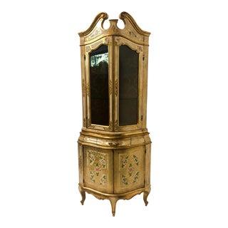 Italian Florentine Giltwood Corner Cabinet For Sale