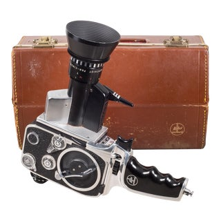 Bolex Zoom Reflex P1 8mm Movie Camera and Leather Case C.1961 For Sale