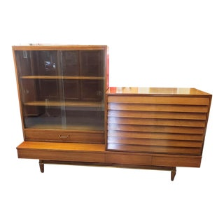 Mid-Century Modern Merton Gershun for American of Martinsville Dania Collection 3 Piece Sideboard Hutch For Sale
