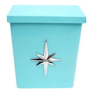 Mid-Century Modern Turquoise Metal Mailbox Starburst Emblem Atomic Era Wall Mount Postal Letter Box For Sale