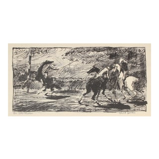 """""""Late Chukker"""" Mid Century Stone Lithograph For Sale"""