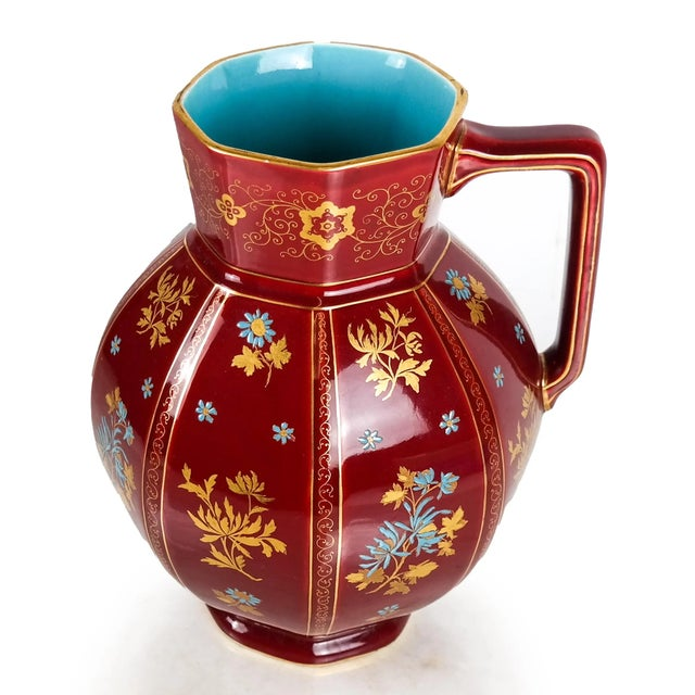 Early 20th Century Large Chinoiserie Red Floral Pitcher For Sale - Image 4 of 7