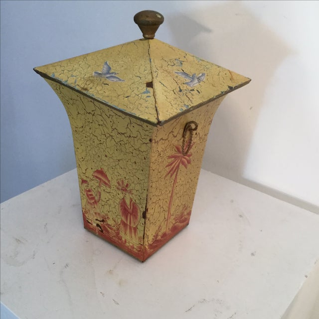 Crackled Yellow & Red Tole Box - Image 4 of 5