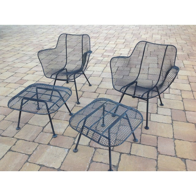 Russell Woodard Wire Chairs & Ottoman - Pair - Image 3 of 6